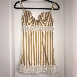 Gold & White Striped Victoria's Secret Lingerie